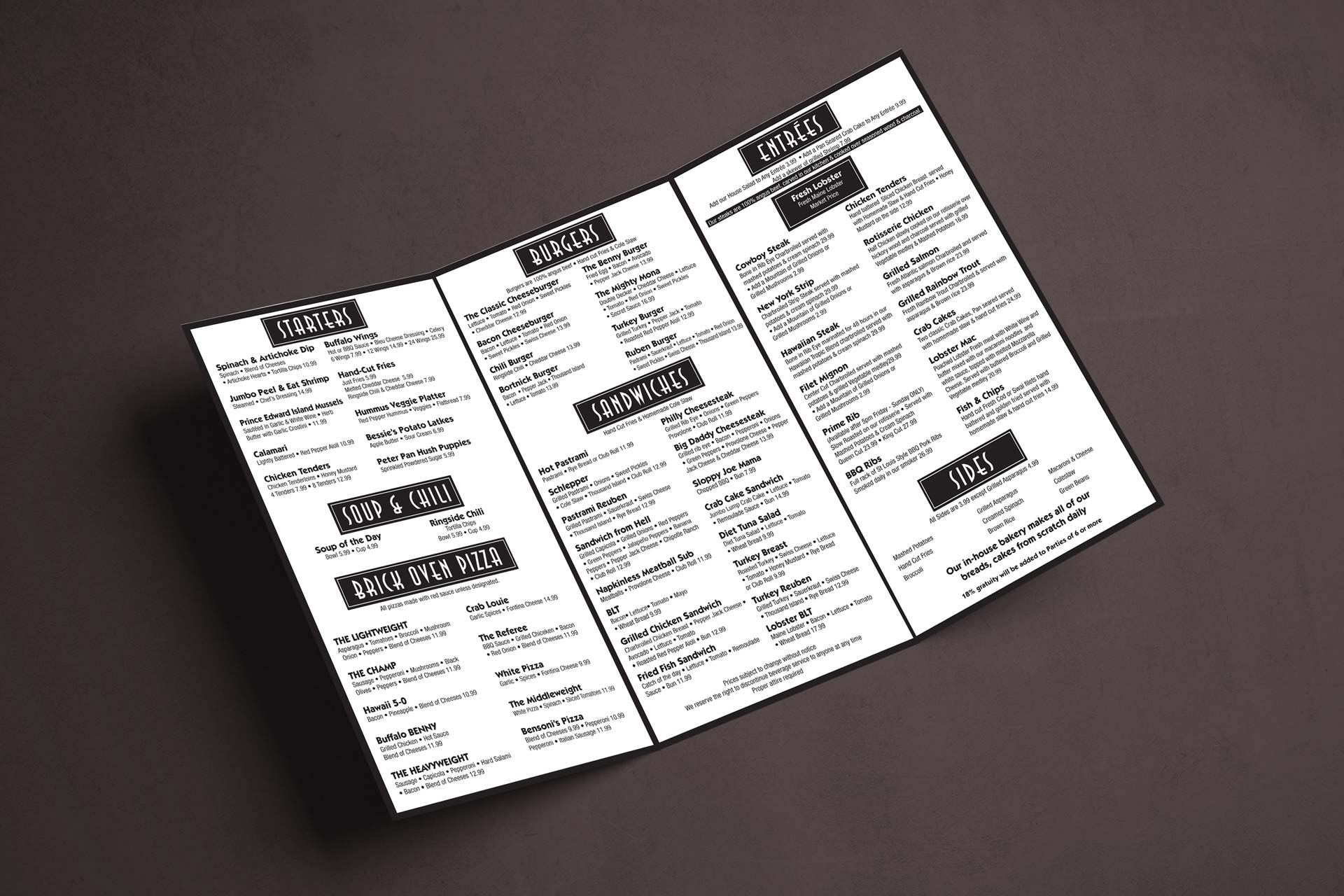 Benny's Bar & Grill Menu Layout (Inside)