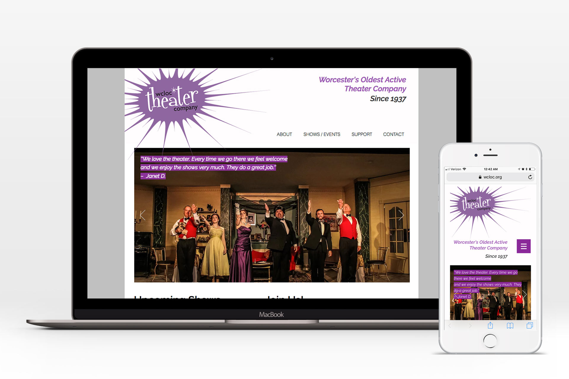 WCLOC Theater Responsive Website (Desktop/Mobile)