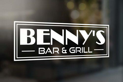 Benny's Bar & Grill Window Logo